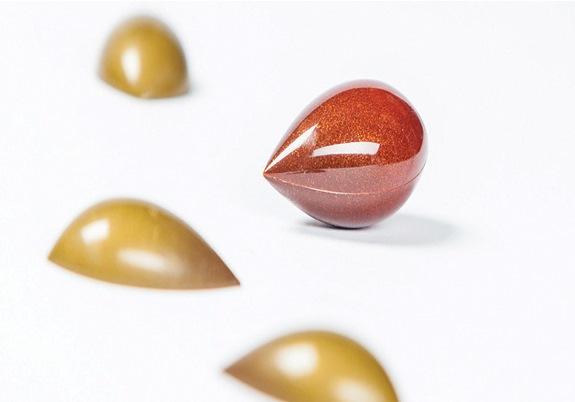 巧克力模 - 尖丸型 (硬膜)  L 45 x 25 x H 12 mm (雙邊模 2 x 8 模 - 2 x10 g)  -- 大師Frank Hassnoot  標識模